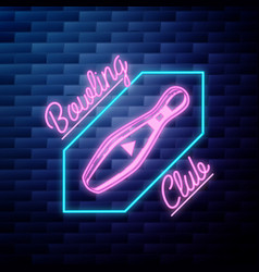 vintage bowling emblem glowing neon sign vector image
