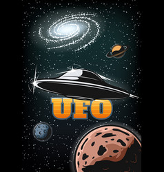 Vintage colorful ufo poster vector