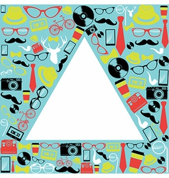 Vintage hipsters icons triangle vector image
