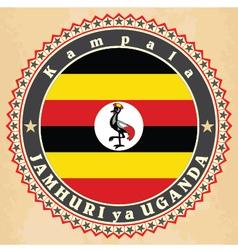 vintage label cards uganda flag vector image