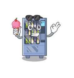 With ice cream wine vending machine on a mascot vector