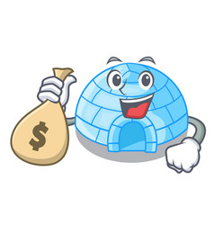 With money bag character cartoon ice house in vector
