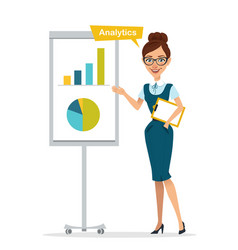 Woman with clipboard stands near flipchart vector