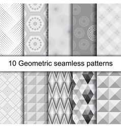 10 Geometric grey seamless patterns vector image