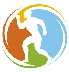 abstract runner - healthy lifestyle icon vector image vector image