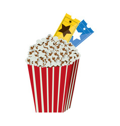 color background with popcorn container with movie vector image vector image