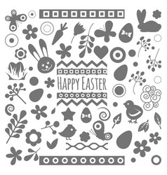 easter eggs floral decor elements vector image vector image