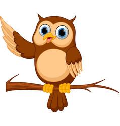 happy owl cartoon vector image vector image
