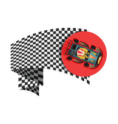 karting sport symbol with checkered flag vector image