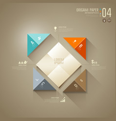 Origami colorful paper cut Infographics vector image