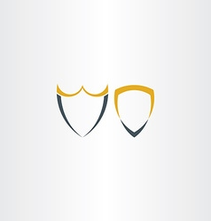 two abstract stylized shield icons vector image vector image