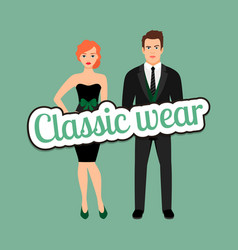 young couple in classic wear style vector image vector image