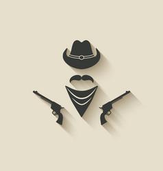 cowboy hat and gun vector image