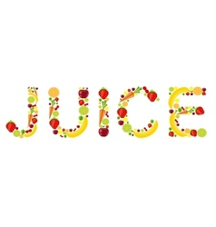 fresh fruits juice word vector image vector image
