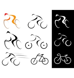 racing cyclist bicyclist set vector image