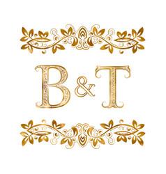 Bt vintage initials logo symbol letters b vector