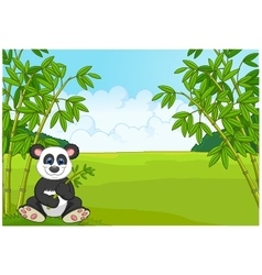 Cartoon cute panda in the bamboo forest vector image