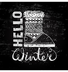 Hello winter lettering text brush and boots vector