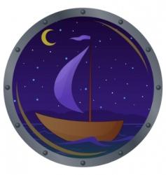 ship floats at night vector image
