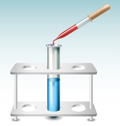 Test tube with holder and pipette vector image