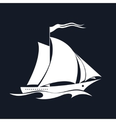 Yacht Isolated on Black vector image vector image