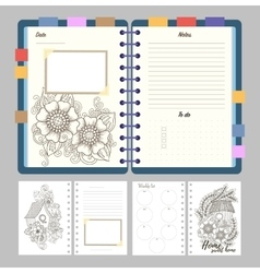 Flat design opened notepad with bookmarks and vector image