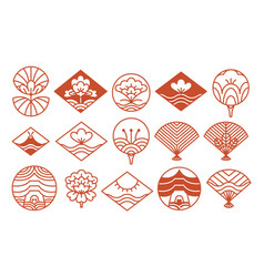 japanese icons collection red vector image vector image