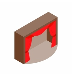 Theater stage with a red curtain icon vector