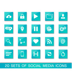20 sets of social media icons vector image