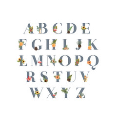 Alphabet design with autumn theme forest for bold vector