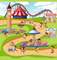 An outdoor funfair scene with rides and kids vector