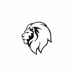 angry lion head black and white logo sign vector image