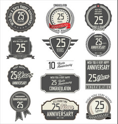 Anniversary label collection 25 years vector