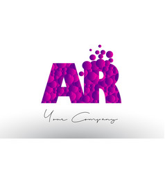 ar a r dots letter logo with purple bubbles vector image