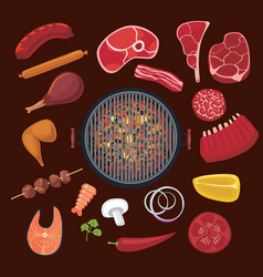 Barbeque ingredients set cartoon icons collection vector