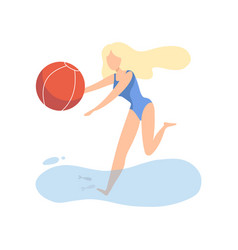 beautiful girl in blue swimsuit playing with ball vector image
