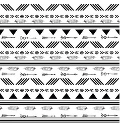 Black and white ikat tribal seamless pattern vector