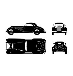 Black silhouette retro car vintage cabriolet vector