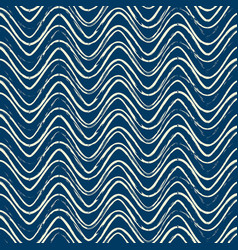blue seamless pattern with white ripple lines vector image