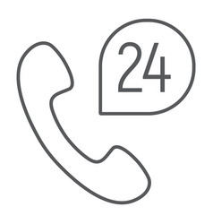 call 24 thin line icon support and all day vector image