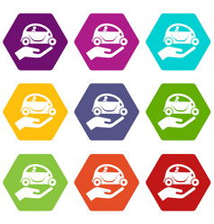 car protection icons set 9 vector image