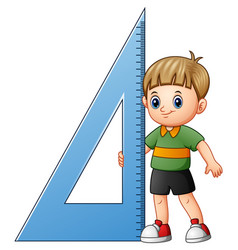 Cartoon boy holding triangl vector