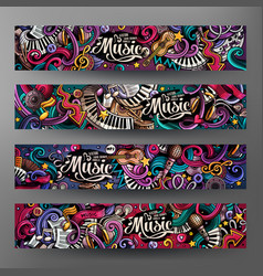Cartoon hand-drawn doodles musical banners vector