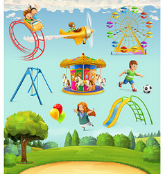 Children playground set of icons vector image