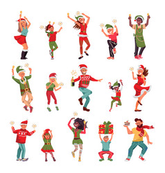 christmas party characters happy woman dancing vector image