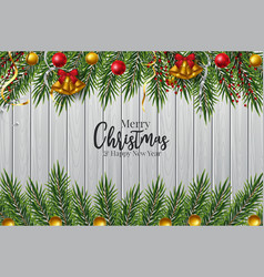 Christmas tree branch decorated with gold bubbles vector