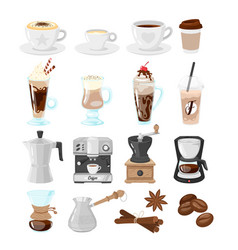 coffee shop set of icons vector image