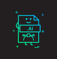 computer ai file format type icon design vector image