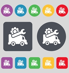 Computer repairs icon sign A set of 12 colored vector image