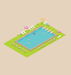 creative concept design on isometric swimming vector image
